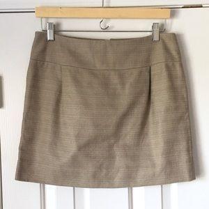 J Crew tan textured mini skirt